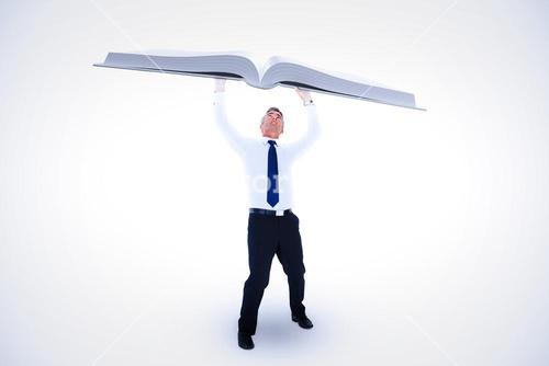 Composite image of businessman with arms up