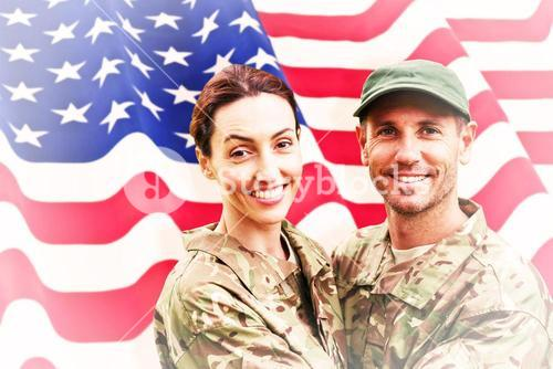 Composite image of army couple