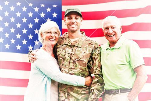 Composite image of soldier reunited with parents