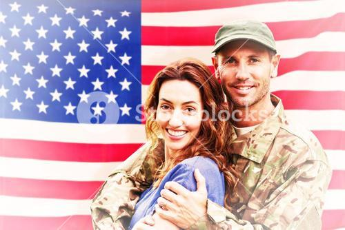 Composite image of soldier reunited with partner