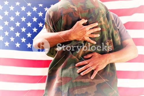 Composite image of solider reunited with father
