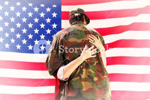 Composite image of solider reunited with mother