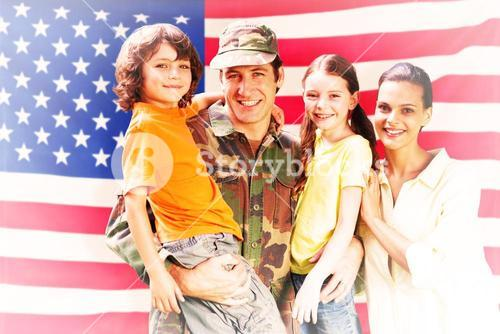 Composite image of solider reunited with family