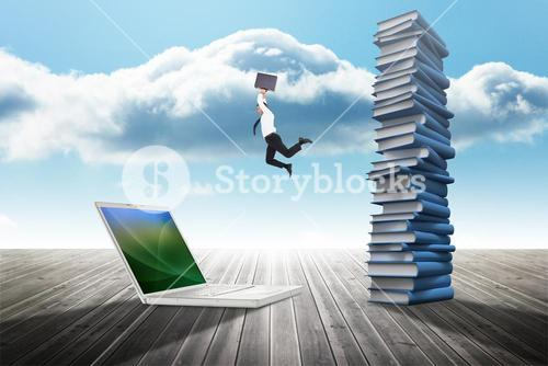 Composite image of smiling businessman leaping while briefcase