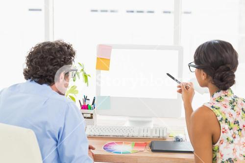 Thoughtful business coworkers working attentively