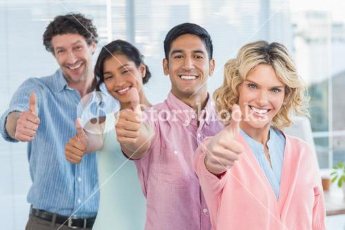casual businesspeople thumbs up in line