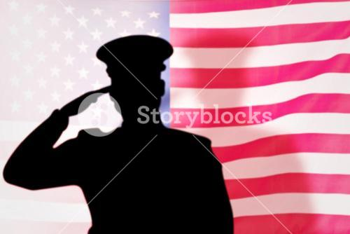 Composite image of soldier silhouette
