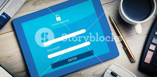 Composite image of online banking