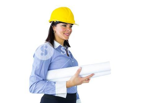 Architect carrying construction plans