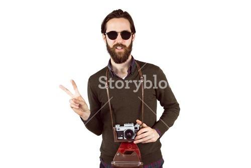 Hipster with his vintage camera