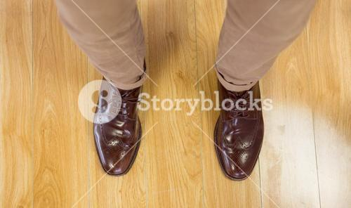 Overhead of mans dress shoes