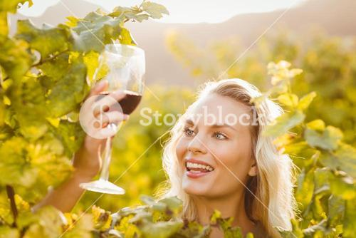 Young happy woman holding a glass of wine