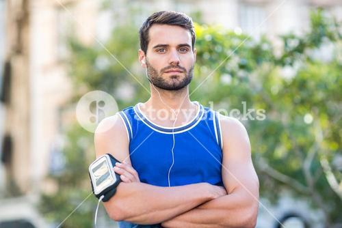 Portrait of a determined handsome athlete