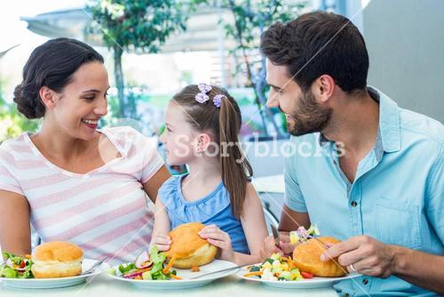 A family eating at the restaurant