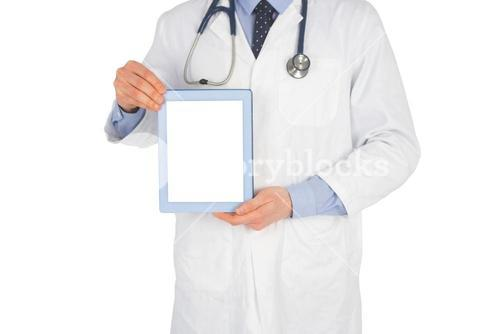 Doctor showing a digital tablet