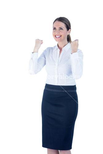 Pretty happy businesswoman reached her goal