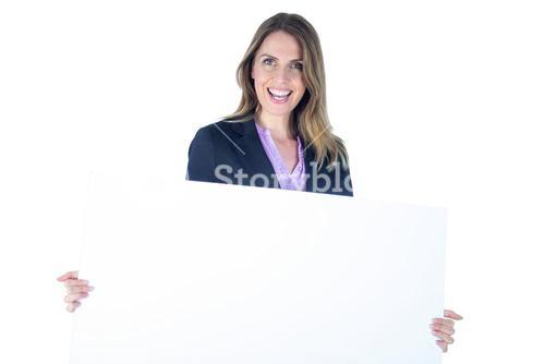 Businesswoman showing a blank sign