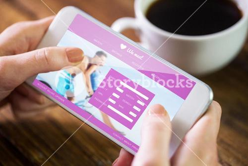 Composite image of woman using smartphone