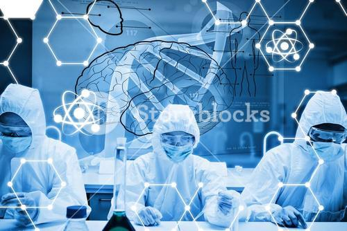 Composite image of chemists working in protective suit with futuristic interface showing dna