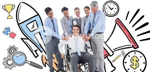 Composite image of business people supporting their colleague in wheelchair