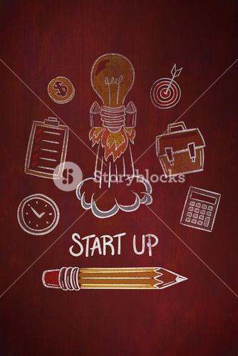 Composite image of start up doodle