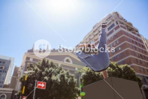 Man doing free-running in the city