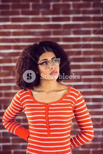 Concentrated attractive young woman