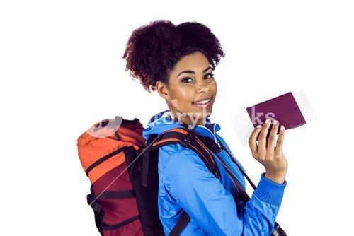 Young woman showing her passeport