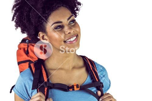Close up view of a young woman with a backpack