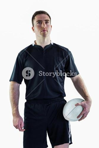 A rugby player looking up