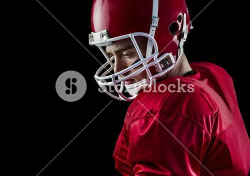 Concentrated american football player