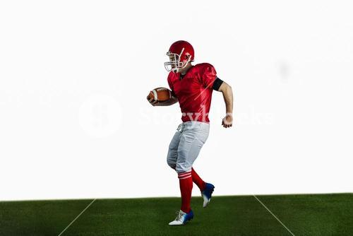 American football player playing football