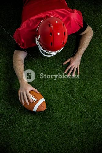 American football player trying to score