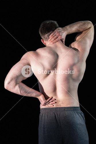 Strong bodybuilder with painful back and neck