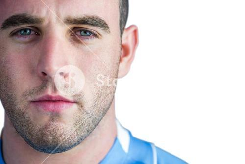 Rugby player looking at camera