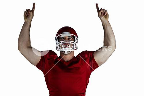 American football player cheering