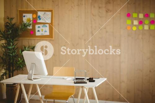 Creative office with cool wooden paneling