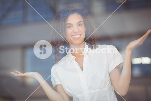 Carefree woman gesturing with arms