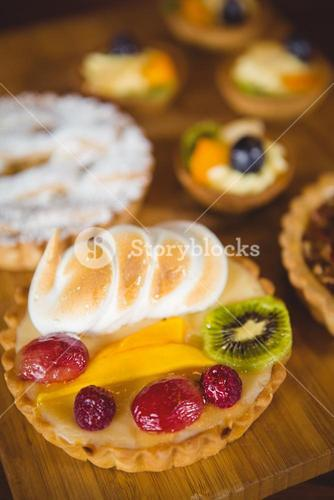 Close up view of fruit pies