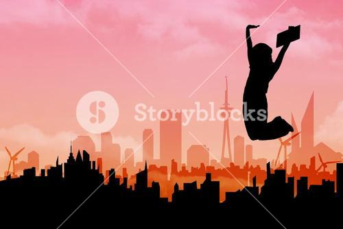 Composite image of woman cheering silhouette