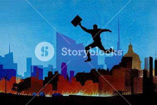 Composite image of businessman jumping with briefcase
