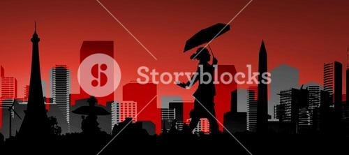 Composite image of businesswoman stepping with umbrella