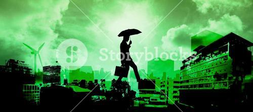 Composite image of businessman stepping