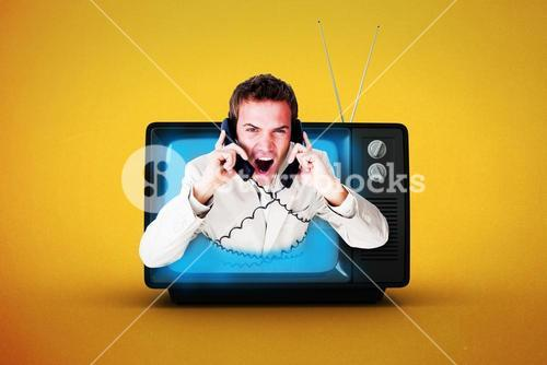 Composite image of confident businessman having a phone call
