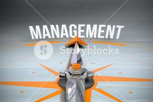 Management against bleached wooden planks background