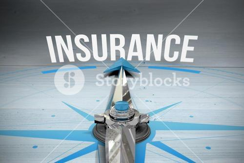 Insurance against bleached wooden planks background