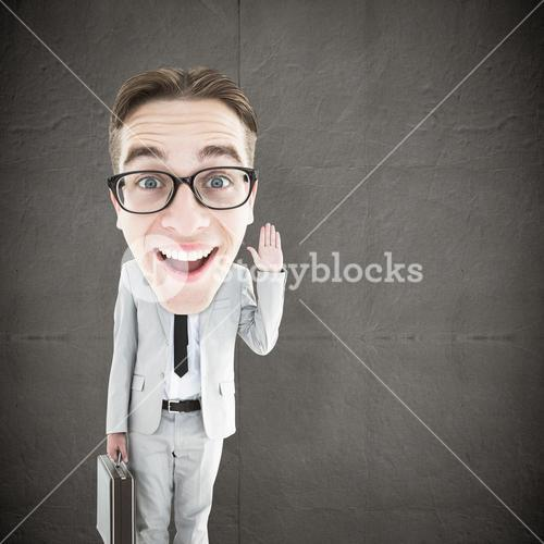 Composite image of geeky businessman