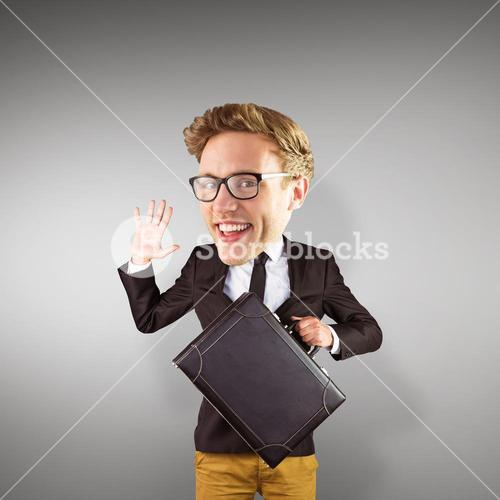 Composite image of nerd smiling and waving