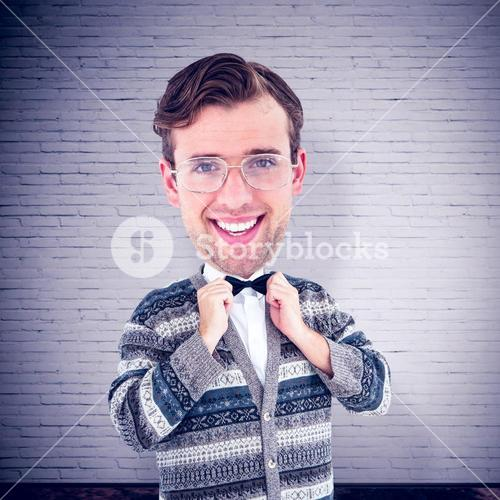 Composite image of nerd smiling