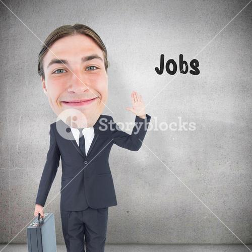 Composite image of geeky businessman waving